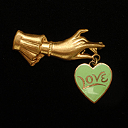 Hand Holding Love Heart Pin Vintage circa 1940s