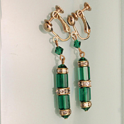 Emerald Green Stones Vintage Drop Earrings