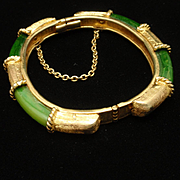 Vintage Hinged Bangle Bracelet with Green Panels