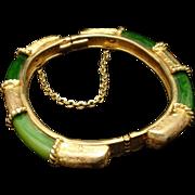 Vintage Hinged Bangle Bracelet with Green Panels