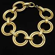 Vintage Bracelet with Large Open Brass Links