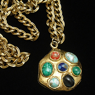 Multi-Color Cabs in Vintage Pendant Necklace