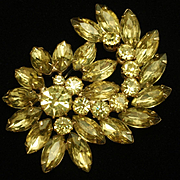 Rhinestone Swirl Pin Lemony Yellow to Peridot Color