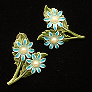 Enamel Flower Earrings Vintage Screw-Backs