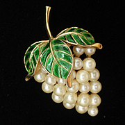 Cluster of Grapes Pin Enamel and Imitation Pearls Trifari Vintage