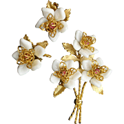 White Flower Pin and Earrings Set Vintage Corocraft
