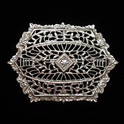 Vintage White Metal Filigree Pin