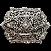Vintage White Metal Filigree Pin