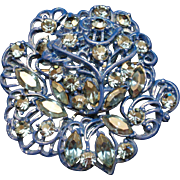 Big Blue Flower Pin Vintage
