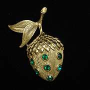 Acorn Nut Leaf Brooch Pin Vintage
