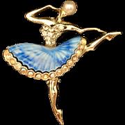 Ballerina in Tutu Pin Vintage Rhinestones Enamel