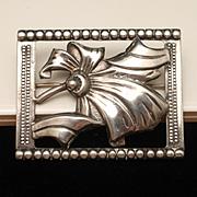 Sterling Silver Framed Bow Pin Vintage