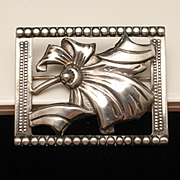 Sterling Silver Framed Bow Pin Vintage