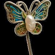 Butterfly Stick Pin Plique a Jour Enamel Vintage