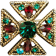 Maltese Cross Pin Pendant Small and Colorful Vintage