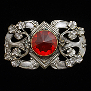 Sash Pin Vintage with Large Red Stone