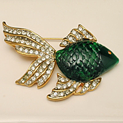 Fish Pin Green Body and Rhinestone Accents