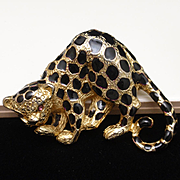 Jaguar Spotted Big Cat Pin Vintage Park Lane Brooch