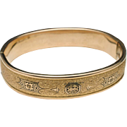 S.O. Bigney Bangle Bracelet Hinged 1930s Vintage Gold Filled