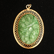 Winard Jade and Gold Filled Pendant Vintage