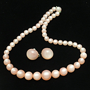 Pink Moonglow Necklace and Earrings Set Vintage 1950s