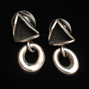 Sterling Silver Drop Earrings Triangle and Donut Vintage Mexico