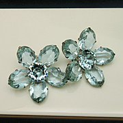 Alexandrite Rhinestone Flower Earrings Vintage Pale Blue to Lavender