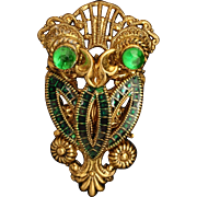 Owl Bird Pin Vintage Animal Brooch West Germany