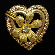 Antique Gold Tone Metal Heart Pin circa 1900
