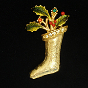 Christmas Stocking Pin with Holly Enamel
