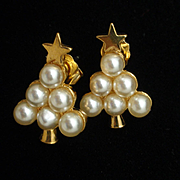 Christmas Tree Earrings Imitation Pearls Posts