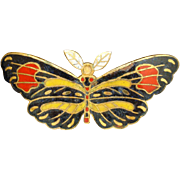 Moth or Butterfly Pin Vintage Enamel over Brass