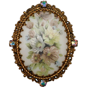 Painted Ceramic Flower Pin with Aurora Borealis Rhinestones Vintage