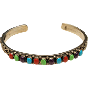 Colorful Stone and Sterling Silver Cuff Bracelet
