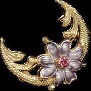 Purple Flower Crescent Pin Vintage