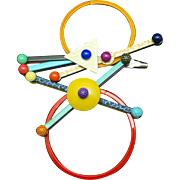 1980s Memphis Revival Colorful Abstract Brooch Pin by Eve Kaplin