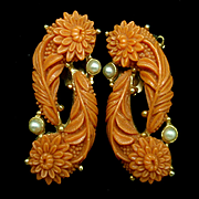 Carved Imitation Coral Clip-Back Earrings Vintage