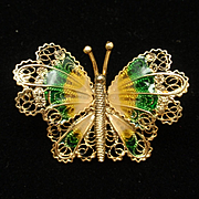Butterfly Pin Sterling Silver Vermeil