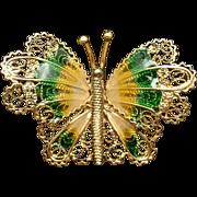 Butterfly Pin Sterling Silver Vermeil