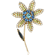 Blue Rhinestones Flower Pin Large Vintage