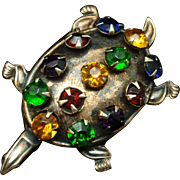 Jeweled Turtle Pin Vintage Sterling Silver