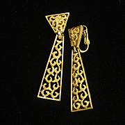 Trifari Drop Earrings Vintage Necktie Design
