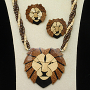 Lions Head Necklace Earrings Set Vintage