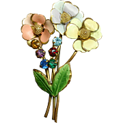 Flower Bouquet Brooch Pin Enamel Rhinestones Austria Vintage