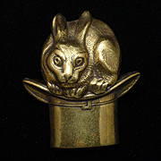 Rabbit in a Magician's Hat Brooch Pin Vintage