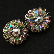 Hobe Vintage Earrings AB Vitrail Rivoli Rhinestones