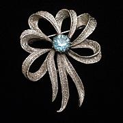 Bow Pin Silver Tone Metal Blue Rhinestone Vintage SHP