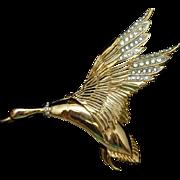Duck Bird in Flight Brooch Pin Vintage