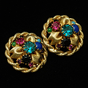 Colorful Earrings Vintage Clips Backs
