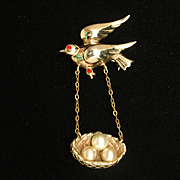 Bird with Nest Pin Red Rhinestones Imitation Pearls Vintage